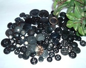 Buttons, 90  Black and Grey for Sewing or Crafts, Several Sizes and Shades
