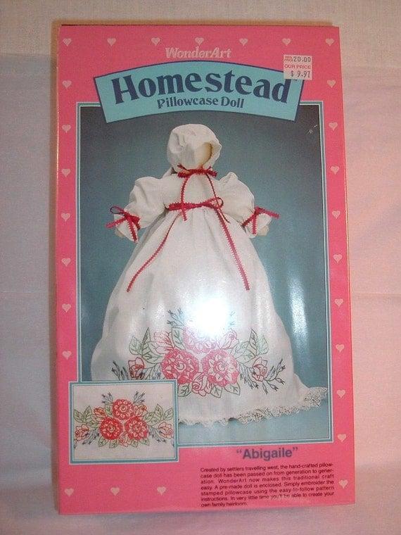 WonderArt Homestead Pillowcase Doll Kit, Abigaile, New in Package