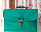 Mathilda , French Vintage, 1960s Minty Green Satchel, Envelope Briefcase Handbag from Paris
