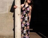 Stéphanie, French Vintage, Navy Blue and Hot Pink Floral Maxi Dress from Paris