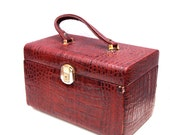 Madeline, French Vintage, Burgundy Crocodile, Leather, Vanity Case, Train Case, Beauty Case from Paris