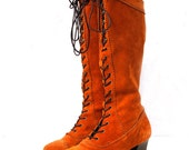 Beatrice, Vintage Tan Suede Leather Lace Up Boots Boots with Stack Heel