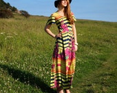 Ziggy, French Vintage, Citrus Lime and Coral Maxi Dress with Floral and Zig-Zag Stripe Pattern, from Paris