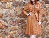 Toffee Pop, Vintage Honey Tan Leather Jacket,Trench Coat, with Belt, French Vintage from Paris