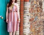 Mildred, French Vintage, Peach Multicolour Stripe Midi Dress, from Paris
