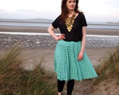 Clara, French Vintage, Mint Green Polka Dot Midi Skirt from Paris