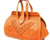 Mona, French Vintage, Tan Tooled Leather Satchel, Handbag from Paris