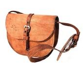 Maudeline, French Vintage, Tan Tooled Leather Satchel, 1930s Messenger Handbag from Paris
