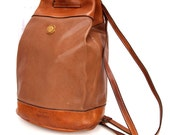 Backpack Full of Dreams, French Vintage, Tan Leather Satchel, Backpack Bag,  from Paris
