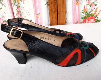 Gina, 1980s Dornoff Navy Peep Toe Pumps with Sheer Panel, French Vintage from Paris