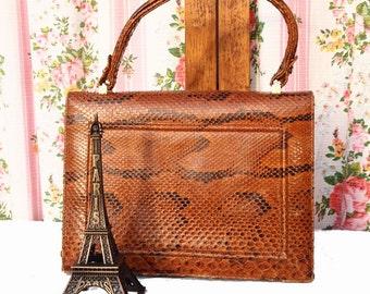 Sophie, French Vintage, Golden Tan Snakeskin Leather,1950S Mad Men Style Envelope Handbag from Paris