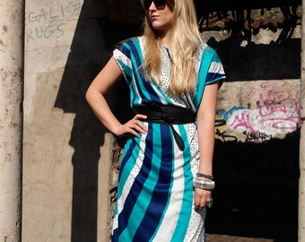 Aquarelle, French Vintage 1970s Mint, Turquoise and White Polka Dot and Stripe Dress, from Paris