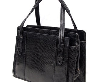 Betty D, French Vintage, 1950s Black Snakeskin Leather, Envelope, Evening Purse Handbag