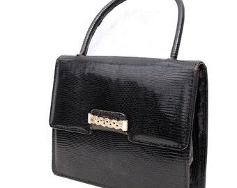 Marilyn, French Vintage, 1950s Black Snakeskin Leather, Envelope, Evening Purse Handbag with Gold Brooch