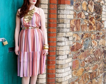 Mildred, French Vintage, Peach Multicolour Stripe Midi Dress, from Paris
