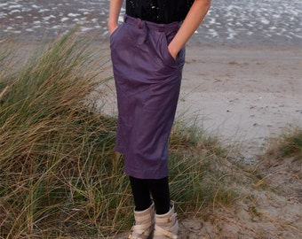 Zara, French Vintage, Royal Purple Leather Skirt from Paris