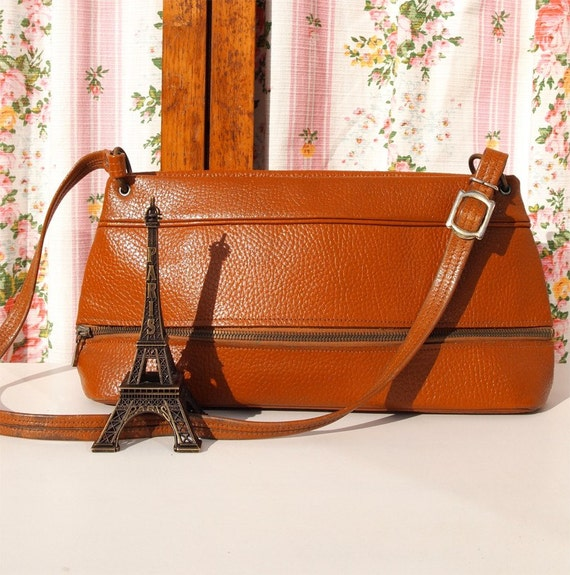 Toffee Pop, French Vintage, Tan Leather Satchel Zip Top Handbag from Paris