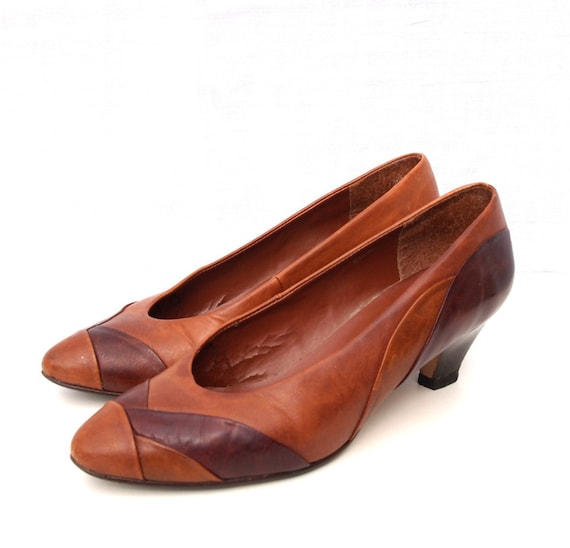 Candie, French Vintage Beautiful Chocolate Brown Leather Multi Panelled High Heel Shoes, Size 37