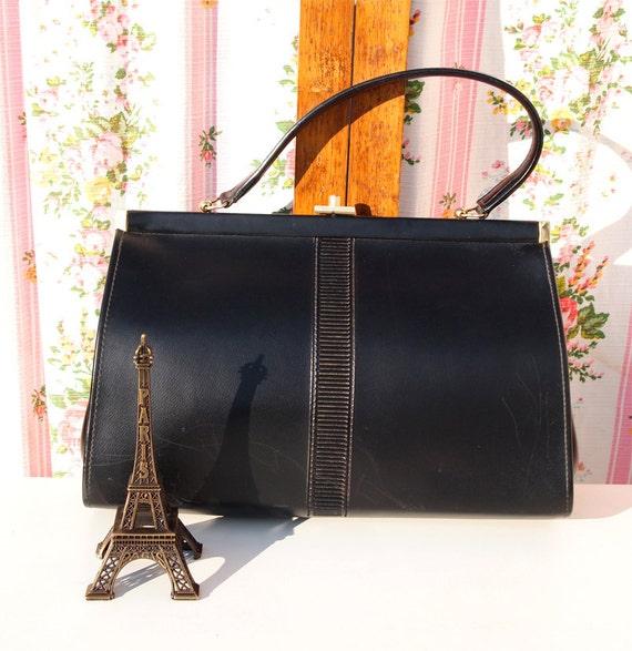 Audrey Hepburn, French Vintage Black Leather 1950s Mad Men Style Envelope Handbag