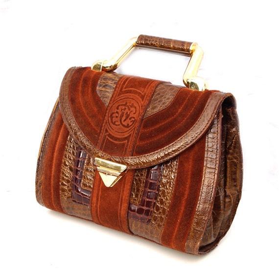 Clarise, French Vintage, Dark Amber Tan Suede, Croco, Leather Satchel, Handbag with Gold Handle