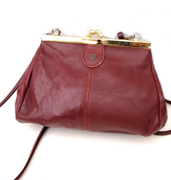 Soiree, French Vintage, Etienne Aigner 1970s Mulberry Leather, Burgundy Satchel Crossbody Evening Handbag from Paris