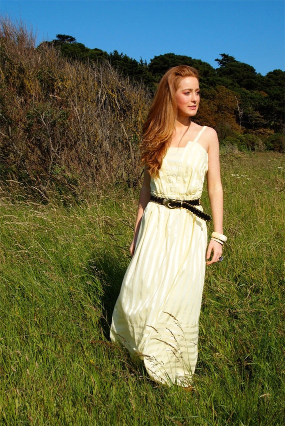 Bonnie, French Vintage, Buttermilk Yellow Maxi Dress with Stripe Pattern, from Paris