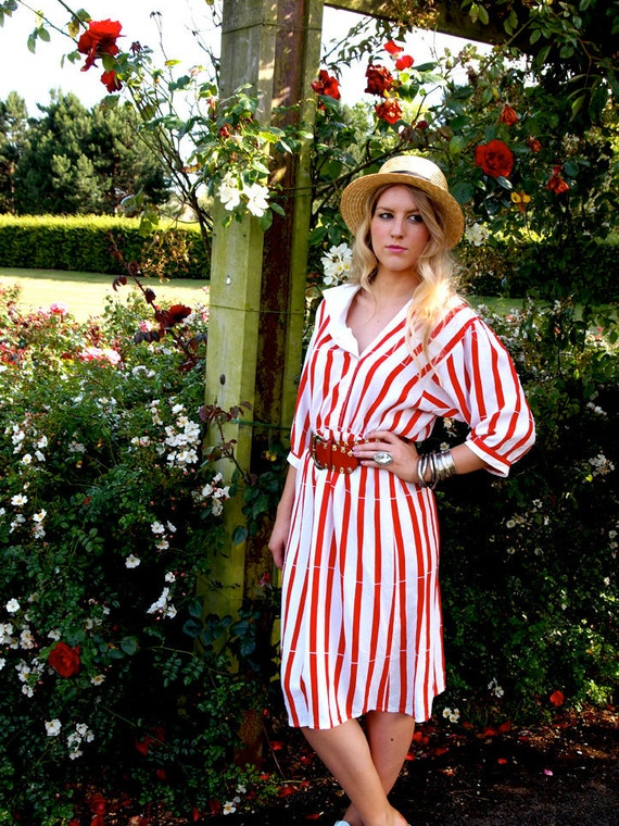 Candy Striper, French Vintage, Red and White Stripe Midi Dress, from Paris