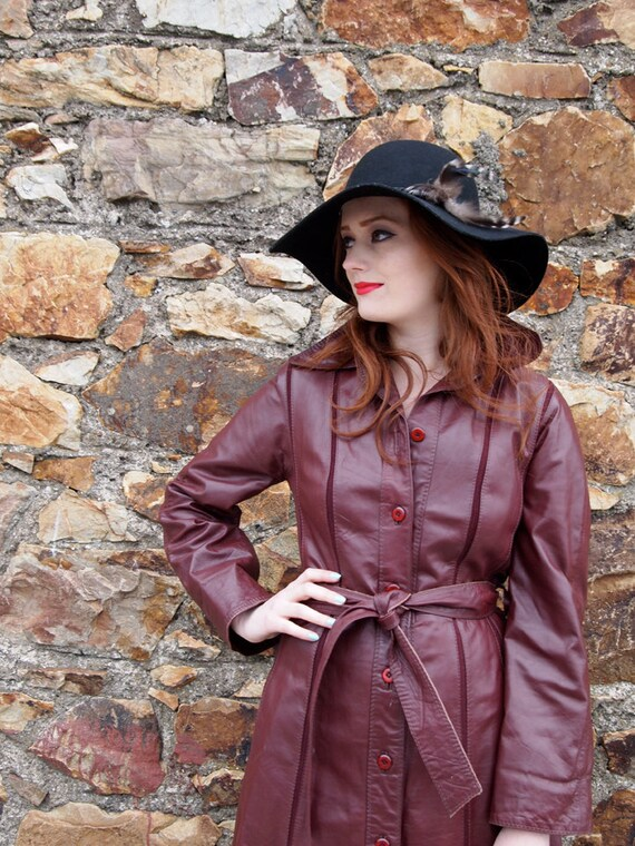 Heart Full of Wine, Vintage Ox-Blood Burgundy Leather Jacket,Trench Coat, with Belt, French Vintage from Paris