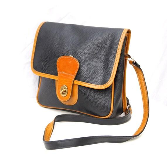 Mildred, Vintage, Navy and Tan Leather Satchel Crossbody Handbag from Paris