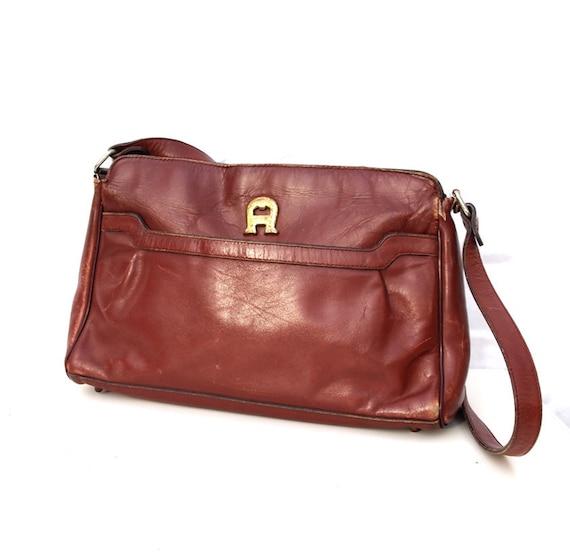 Etiene Aigner, French Vintage, Designer, Mulberry Red Leather, Satchel Messenger Handbag with Zip Top.