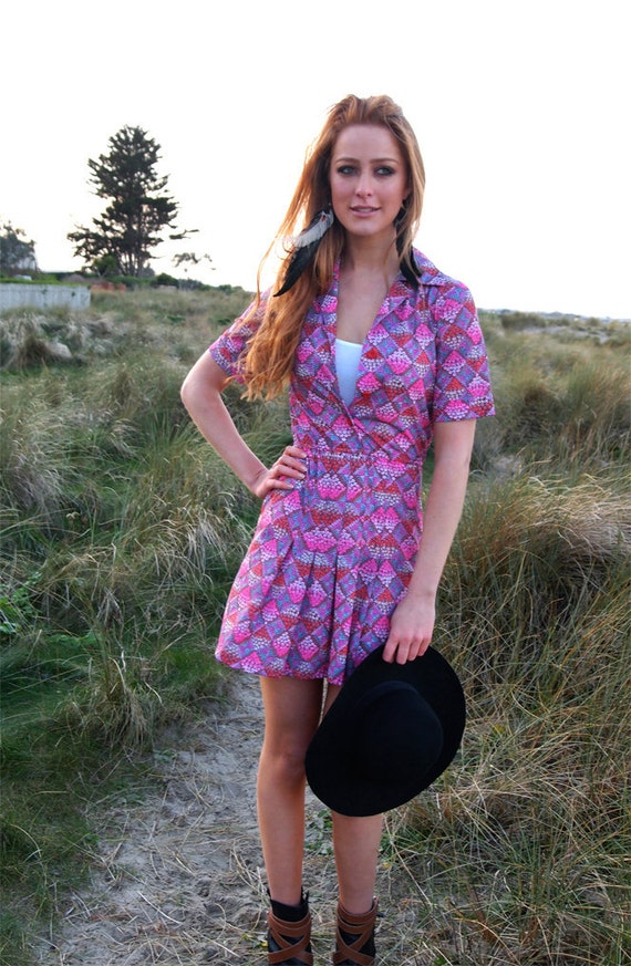 Dorothe, French Vintage, Pink Floral Mini Dress, from Paris