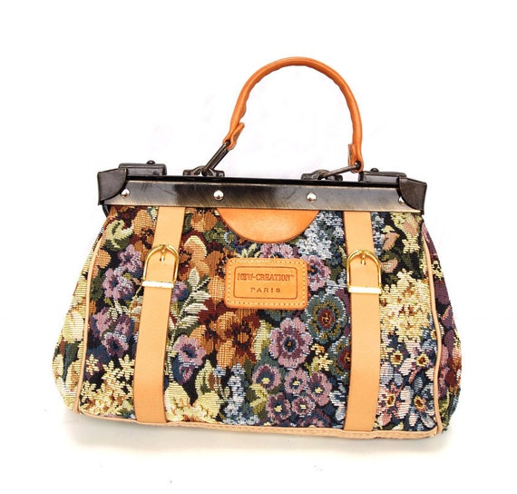 Fleur, French Vintage, 1970s Tapestry Satchel,Doctors Bag Handbag from Paris