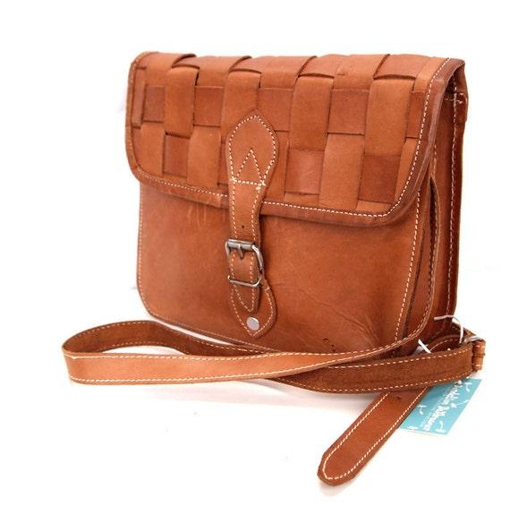 Carmella, French Vintage, Tan Leather Satchel, 1970s Messenger Handbag from Paris