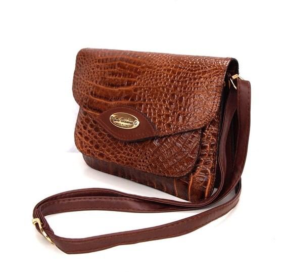 Crocodile Rock, French Vintage, 1970s Tan Crocodile Satchel, Messenger Handbag from Paris, Festival Bag