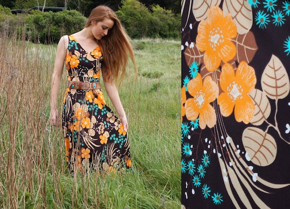 Hawthorn, French Vintage, 1970s Floral, Brown, Orange, Green, Maxi Dress, from Paris