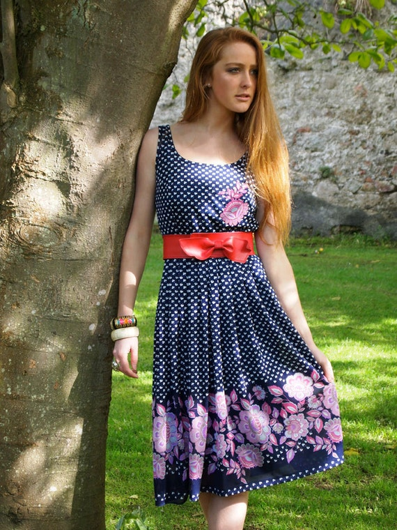 Reserved for Emi, Patrice, French Vintage, 1970s Navy Blue Floral Midi Dress, from Paris