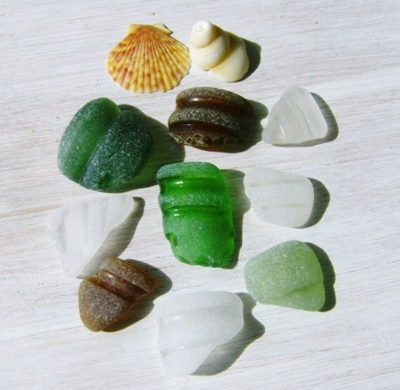SALE 9 Irish Sea Glass Bottle Tops
