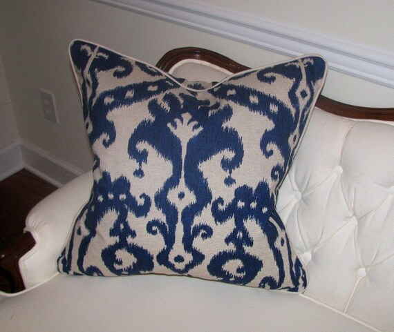 22 Inch Navy Blue Ikat Pillows on Cream Background
