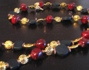 Burgundy gold necklace, matches earrings