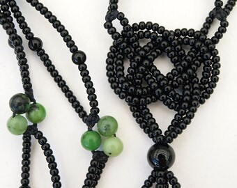 Black and Green Josephine knot necklace - with gemstones and seed beads