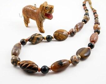 Big Cat Safari - Tiger's eye, Leopardskin jasper and Agate necklace