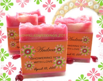 20 Vegan SOAP Favors | Floral Fun scented in Cranberry Citrus | Custom Labels | Bridal | Weddings | Cellophane bags | Made in 7 days