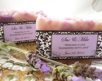 4 Wedding Large SOAP Favors scented in Lavendar with Damask Labels in Custom designs and Handmade ~ Wedding or Bridal  ~ Made in 7 days