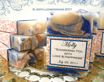 20 Vegan Soap Favors -Peach Filligree or Custom Designs - Bridal Shower - Wedding Favors - Made in 7 days