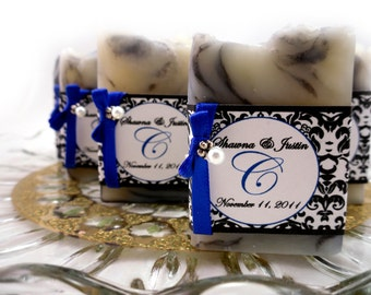 20 Vegan SOAP Favors ~ Bridal Showers ~ Weddings ~  Elegant Black Damask or Custom Labels~ Handmade in 7 days ~ with Cellophane Bags