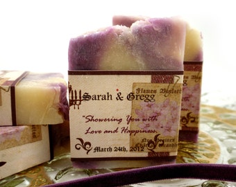 10 Bridal Handmade Soap Favors scented in Lavendar with French Inspired Labels in Custom designs ~ Wedding or Bridal ~ Made in 7 days