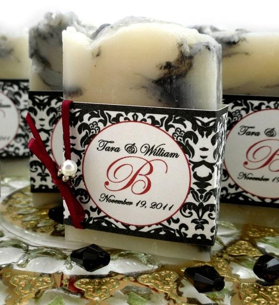 10 Vegan SOAP Favors ~ Bridal ~ Wedding ~ Black Damask Labels or Your Own Custom Designs ~ Handmade in 7 days