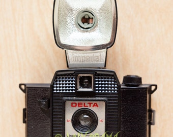 film Camera plastic groovy  film camera from the 1960s flash box plastic photography camera delta holga diana