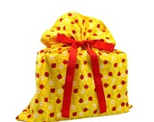 Cloth Gift Bag -- Yellow with Ladybugs -- Medium -- Birthday or Baby Shower