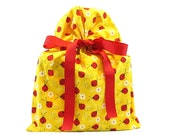 ON SALE -- Bright Yellow Reusable Cloth Gift Bag with Ladybugs for Baby Shower or Birthday